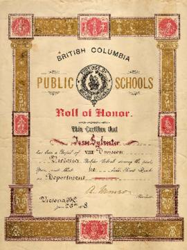 British Columbia public schools roll of honour certificate for Jesse Sylvester
