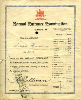 Entrance Examination Certificate, July 1924