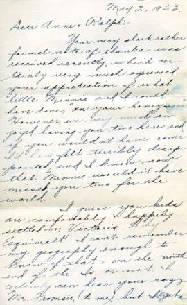 Letter from Clara, May 2, 1933