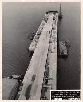 United Grain Growers Pier, course of construction, aerial view