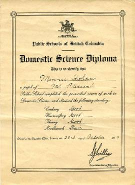[Public Schools of British Columbia Domestic Science Diploma for Minnie Toban of Mt. Pleasant Sch...