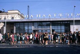 People waiting in front of the Trans-Siberian train station