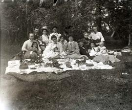 [Unidentified members of the Sylvester family on a picnic]