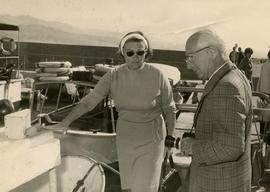 [Dr. Irving and Phyliss Snider disembarking a boat that sailed around the Red Sea off Eilat]
