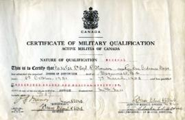 Certificate of Military Qualification, October 3, 1931- March 7, 1932