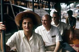 Phyliss Snider on a boat ride with other passengers on a klong