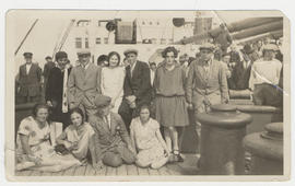 Baruch Dezik [Ben Dayson] (centre) on the ship to Canada from the Ukraine, traveling 3rd class