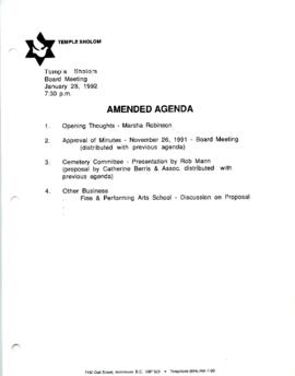 Minutes for Board Meeting, January 28, 1992