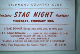 "Card that reads at the top: ""Richmond Country Club, Reminder Stag Night Reminder, Thursday, ..."