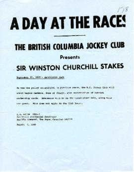 A Day at the Races - The British Columbia Jockey Club September 22, 1985