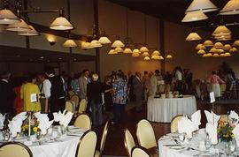 [Unknown people standing around a dining room for an event likely at the Richmond Country Club]