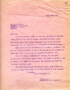 Secretary to J. S. Plaskett - invitation - June 29, 1921