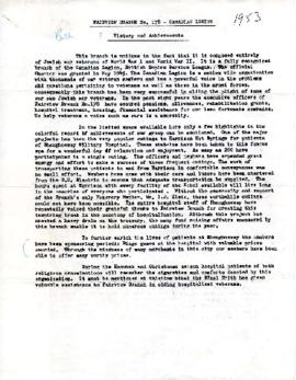 Fairview Branch No. 178 - History and Achievements