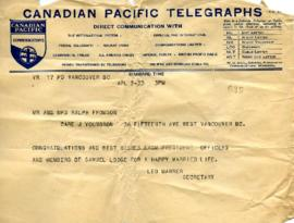 Telegram from President Officers and Members of Samuel Lodge, April 5, 1933