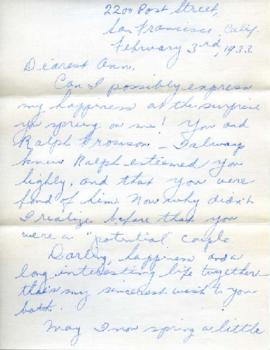 Letter from Bertha, February 3, 1933