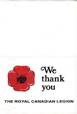 Vancouver Poppy Fund Campaign Thank-You