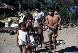 Group of children standing on a beach