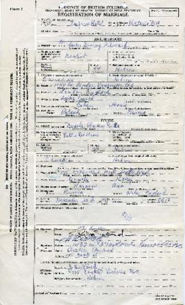 Registration of marriage for Dr. Irving Edward Snider and Phyliss Reta Nemetz