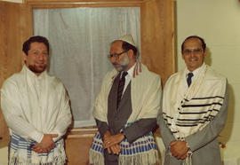 Burquest High Holiday services, l-r: Cantor Robert Edel, Arthur Guttman, Bill Gruenthal