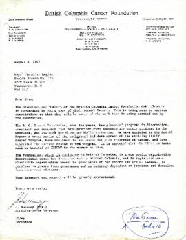 British Columbia Cancer Foundation Annual Report August 8, 1977