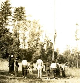 Lowering of the flag at camp