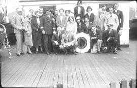 Group photo on ship deck