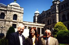 Bernie Simpson MLA - Fraserview 1990 - 1995 - Activities Jewish Community [Bernie Simpson and two unidentfied people in front of what appears to be the British Columbia Parliament Buildings]