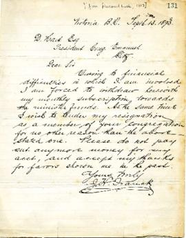 J. H. French to D. Hart withdrawing monthly subscription list - September 13, 1859