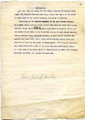 Description of a Parcel of Land - May 3, 1907