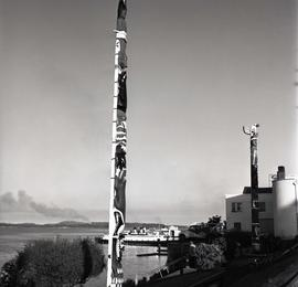 [Totem pole at ferry terminal]