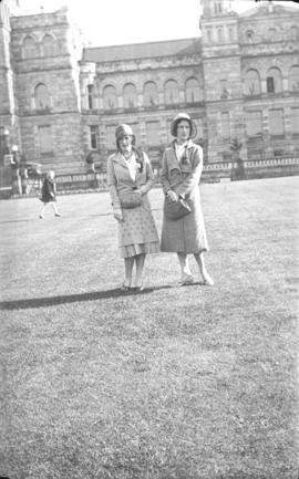 Two unidentified women in front of Britannia High School