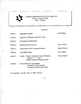 Minutes for Executive Meeting, April 24, 2001