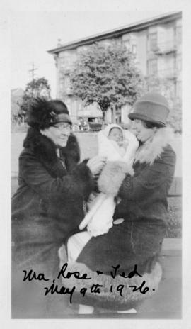 Amalia Hyams with Ted Soskin (2 months) and Rose