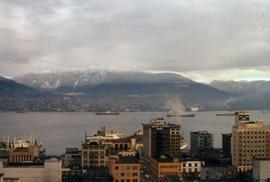 Downtown Vancouver, looking north towards the water and mountains