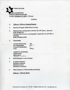 Minutes for Board Meeting, November 25, 1997