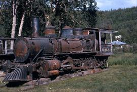 Out of service train engine of the K.M.R (Klondike Mines Railway), which was donated to the Dawso...
