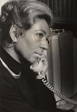 Mrs. (Anita) M.J. Waterman speaking on telephone