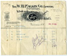 The W.H. Malkin Co., Limited Bill - August 13, 1908