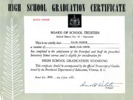 High School graduation certificate, June 12, 1953