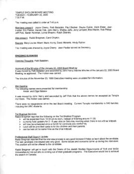 Minutes for Board Meeting, February 22, 2000