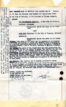 Agreement between the Congregation and Emanu-El and Jack Levy - January 7, 1929
