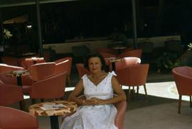 Phyliss Snider sitting at a table