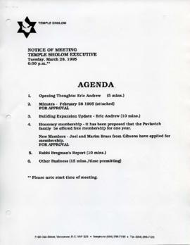 Minutes for Executive Meeting, February 28, 1995