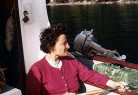 Phyliss Snider fishing on a boat