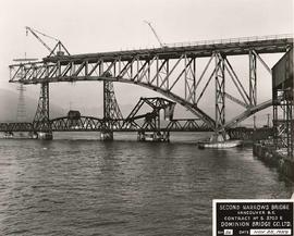 Construction on south span, Second Narrows Bridge, Vancouver, British Columbia