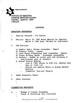 Minutes for Board Meeting, April 27, 1993