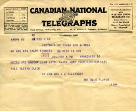 Telegram from Mr. & Mrs. A. E. Alexander, April 5, 1933