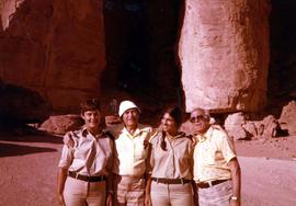 Ben Dayson standing between two women [possibly Israeli soldiers] and another man at Solomon&#039...