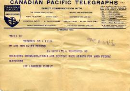 Telegram from the Albhouse family, April 5, 1933