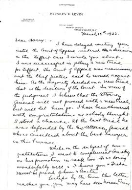 Letter from Morris to Harry March 14, 1932